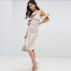 Asos Sexy Blush Pink Midi From Fitting Dress